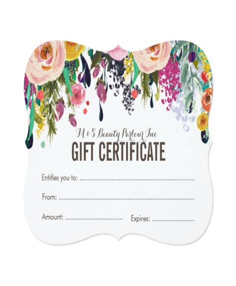 salon gift card template salon gift certificate template 9 free pdf psd ai
