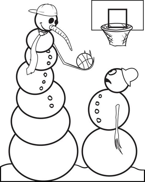Spidol Snowman 6 Colouring Marker free printable snowman basketball coloring page