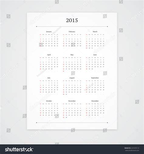 Simple 2015 Calendar Vector Template Isolated Stock Vector 237470113 Shutterstock Orientation Calendar Template