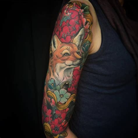 traditional fox tattoo fancy fox inked traditional flower