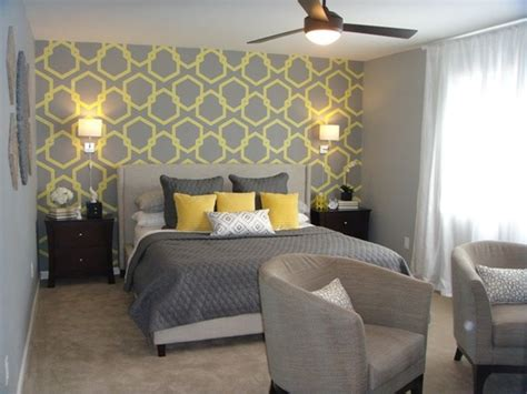grey wallpaper bedroom ideas grey and yellow wallpaper for superb bedroom decorating