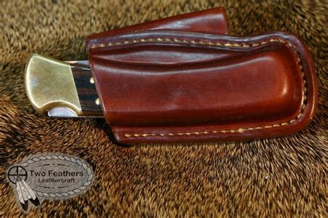 horizontal leather knife sheath folding knife horizontal belt sheath by two feathers