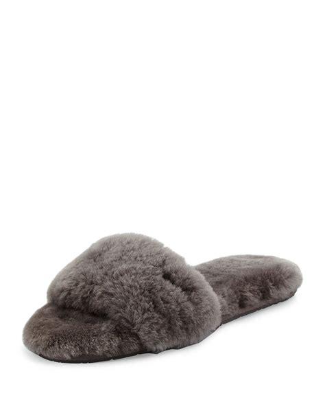 slide slipper lyst ugg fluff slide slipper in gray