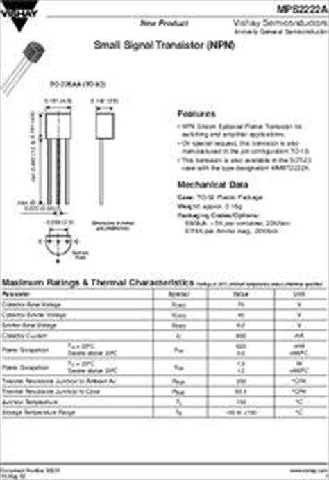 transistor npn mps2222a mps2222a datasheet small signal transistors npn