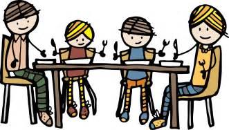 22 family sitting at dinner table clip art