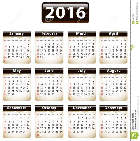 Kalender Englisch 2016 Calendar Stock Vector Image 59450557
