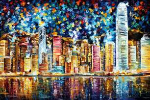 Nyc Duvet Cover Hong Kong Palette Knife Oil Painting On Canvas By Leonid