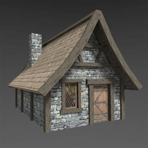 model  poly medieval house village cgtrader