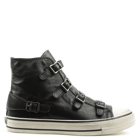 ash bis black leather high top trainer