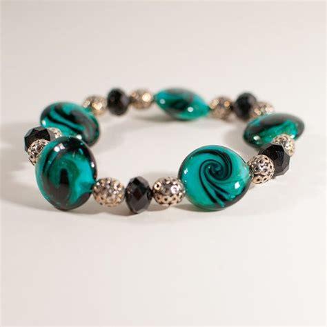 glass bead bracelet green black glass bead stretch bracelet