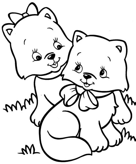 coloring pages of cute kittens cute puppy and kitten drawings coloring pages gianfreda net