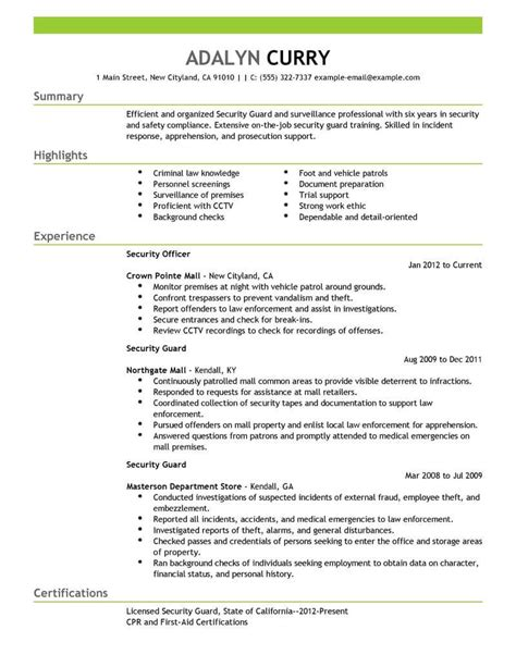 resume format for security guard best security guard resume exle livecareer