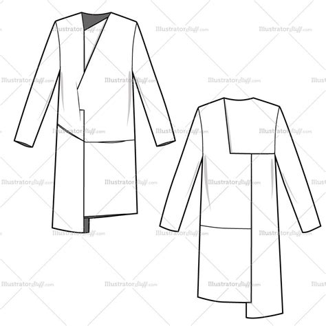 illustrator pattern outline women s wrap colorblock coat fashion flat template