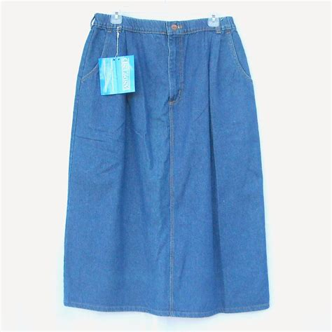 lands end womens blue denim skirt size 18