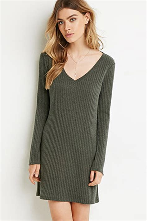 Lace Up Vneck Ruffle Knitted Sweater Series Sweater Knitsweater army green v neck ribbed knitted sweater dress 022720