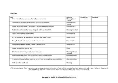 Wedding Checklist Excel Singapore by Prep Wedding Prep Timeline And Checklist Mel Ben Gets