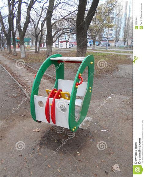 green baby swing green baby swing stock photo image 63891602