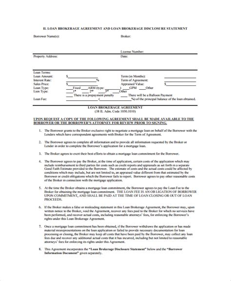 Business Broker Agreement Template sle business loan agreement 6 free documents