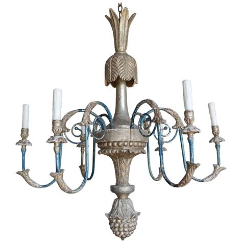 Italian Style Chandeliers Italian Style Carved Silvered And Painted Chandelier For Sale At 1stdibs