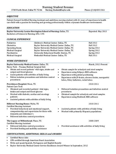 Nursing Student Resume Template by Nursing Resume Template 5 Free Templates In Pdf Word