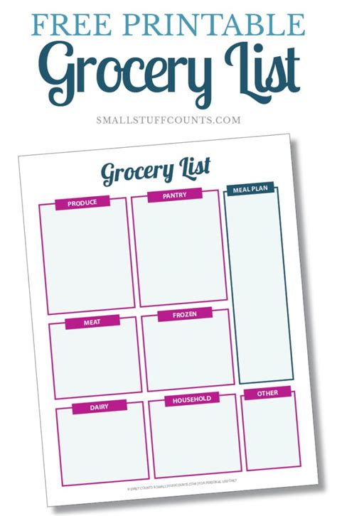 printable total 10 shopping list creating an organized grocery list a free printable