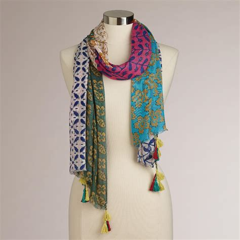 Patchwork Scarf - orange multicolored patchwork scarf world market