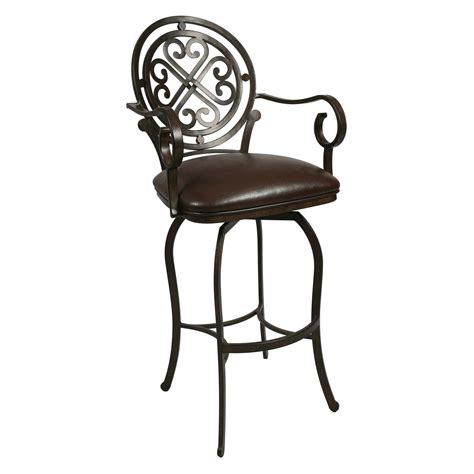 Bar Stool With Arms And Back Metal Bar Stool With Unique Back And Arms Plus Leather Seat Decofurnish