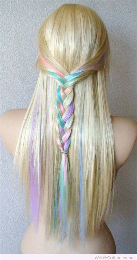 adding color to braids for highlights pastel color highlights on blonde hair color in a braid