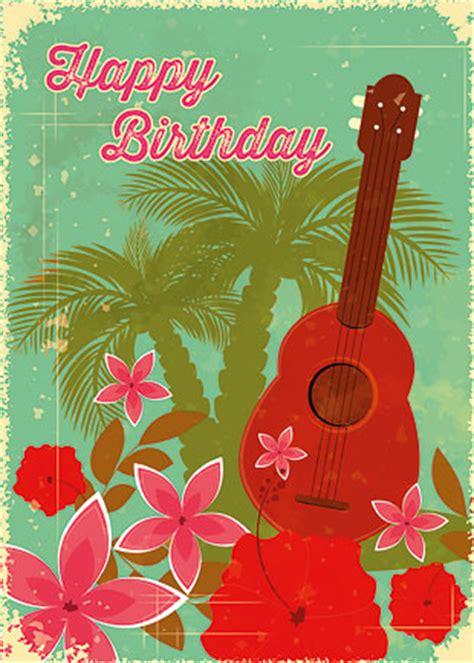 Ukulele Birthday Card Hawaiian Happy Birthday Greeting Card Hawaiian Birthday