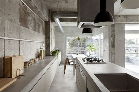 concrete apartments japanese inspired kitchens focused on minimalism