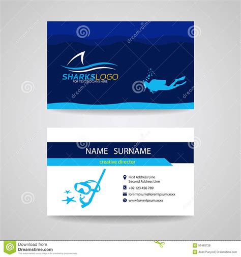 dive card business card of scuba diving and shark blue vector design