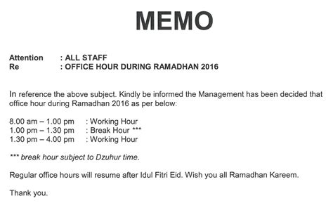Sle Memo New Working Hours Yaya Azura Ramadhan Kareem