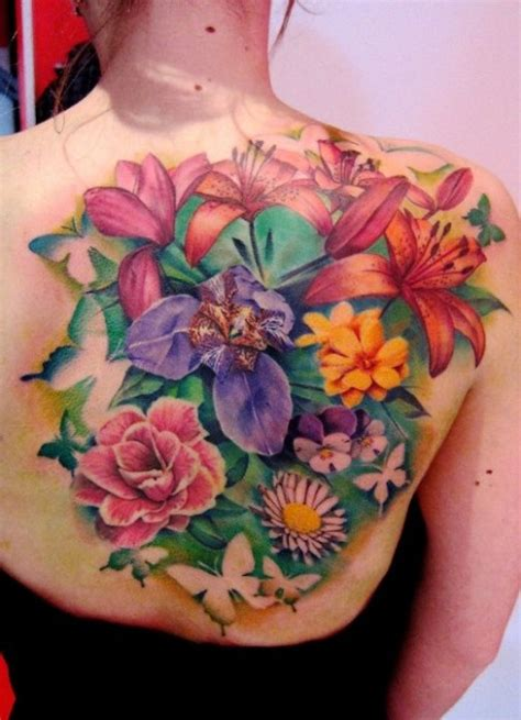 unique flower tattoos vibrant flowers back matteo pasqualin the best