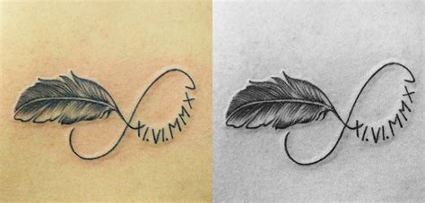 infinity symbol with feather 40 feather infinity symbol tattoos