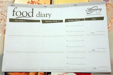 printable food diary slimming world search results for slimming world diary template