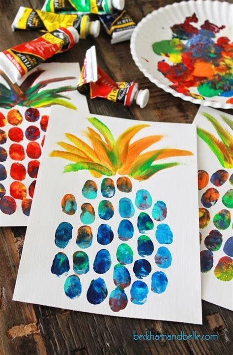 pattern art projects high school pineapple thumbprint painting perfect for summer fun