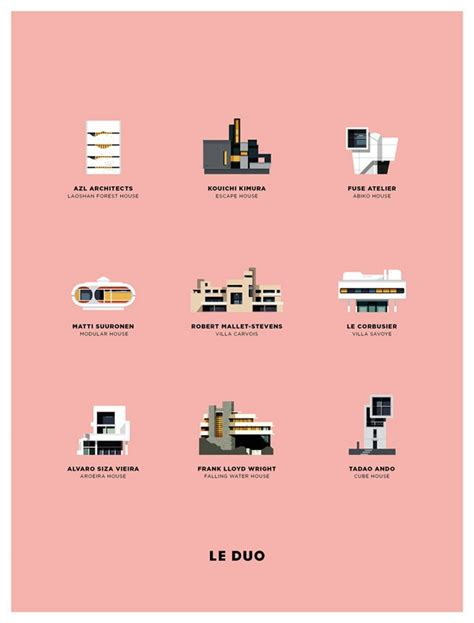 well known architects poster illustrations by le duo of agency la suite