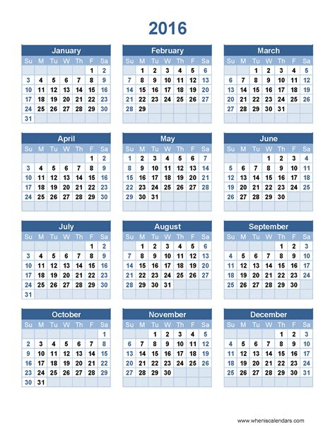 2016 Calendar Year 2016 Year Calendar Template When Is Calendar