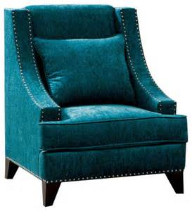 Teal Accent Chair Contemporary Fabric Accent Chair Nailhead Trim With Pillows Teal Color Armchairs And Accent