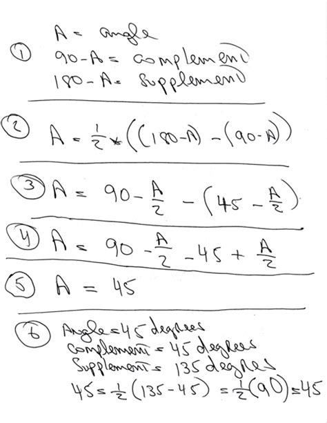 supplement of an angle solution i need help setting up the following problem