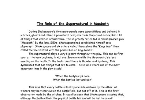 macbeth themes essay questions macbeth supernatural essay