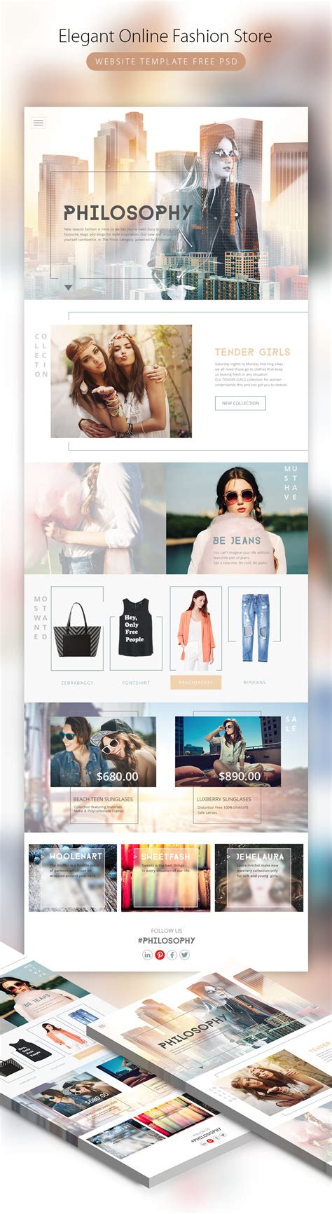 Elegant Online Fashion Store Website Template Psd Download Download Psd Clothing Brand Website Template