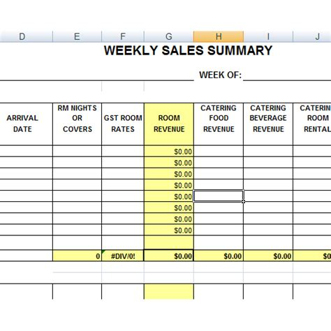 weekly sales spreadsheet weekly sales excel planner template