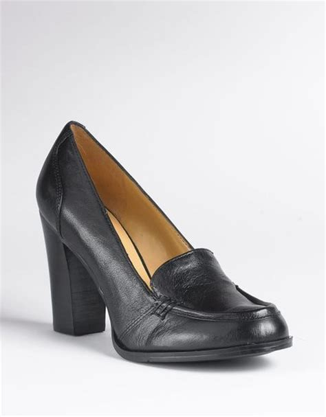 high heeled loafers black nine west newhouse high heeled loafers in black black kid