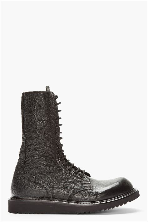 rick owens combat boots rick owens black textured leather combat boot in black for