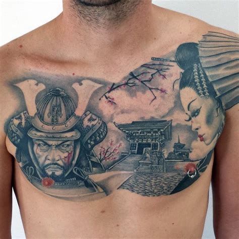 japanese traditional style colored chest tattoo of samurai