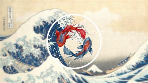 wallpaper  great wave  kanagawa waves koi fish