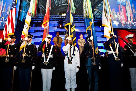Balcony Guard by Color Guard Members From The Five Branches Of The Military