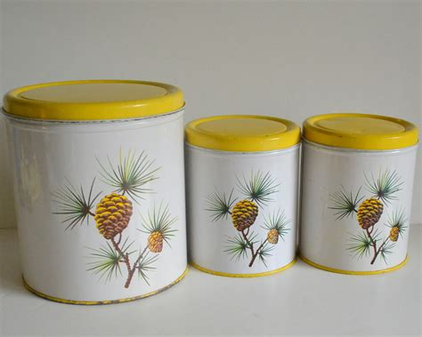 Tin Kitchen Canisters | vintage pine cone tin canisters kitchen metal by