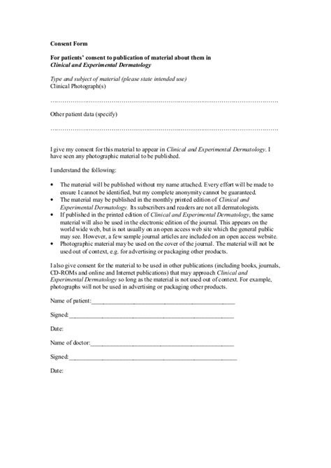Patient Permission Letter Patient Consent Form
